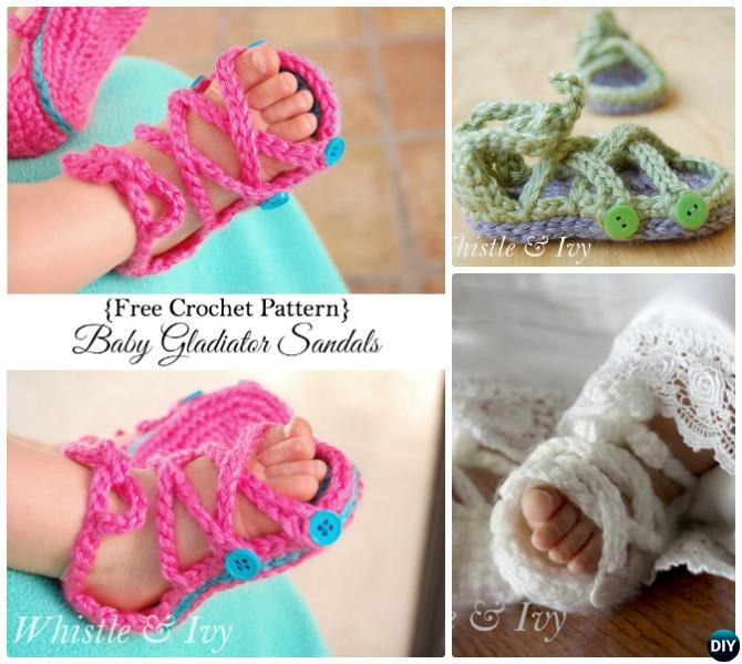 Crochet Baby Button Strap Top Sandals Free Pattern
