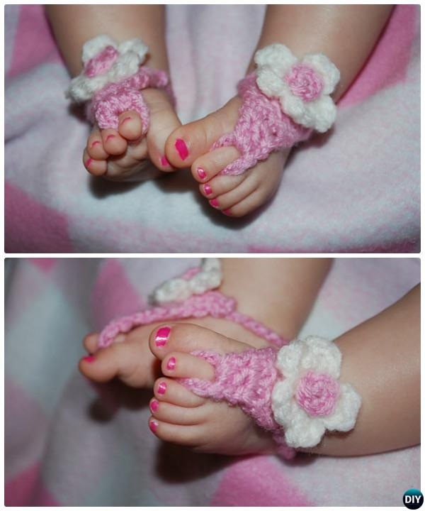 Crochet Barefoot Baby Sandals Free Pattern