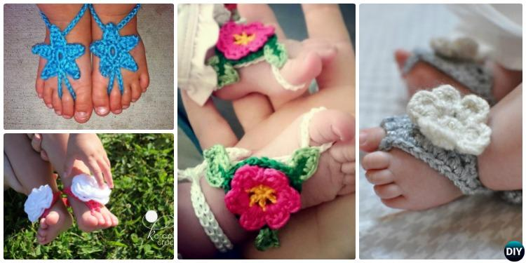 Crochet Barefoot Baby Sandals [Free Patterns]