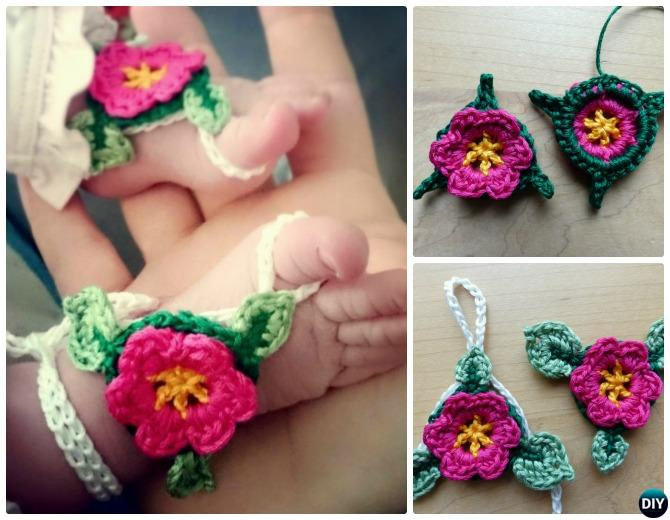 Crochet Barefoot Flower Sandals Free Pattern