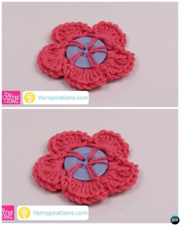 Crochet Button Flower English Pattern Beginner Guide