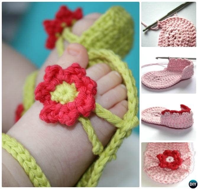 Crochet Flower Baby Sandals Free Pattern