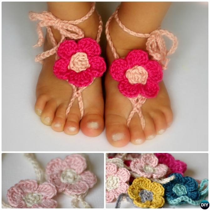 Crochet Flower Barefoot Baby Sandals Free Pattern