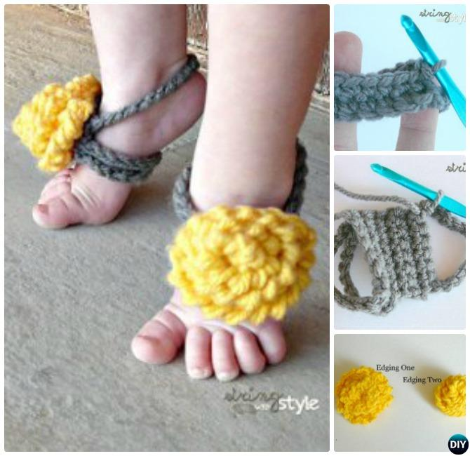 Crochet Baby Toe Sandals Free Pattern : Crochet Barefoot Baby Sandals [Free Patterns]