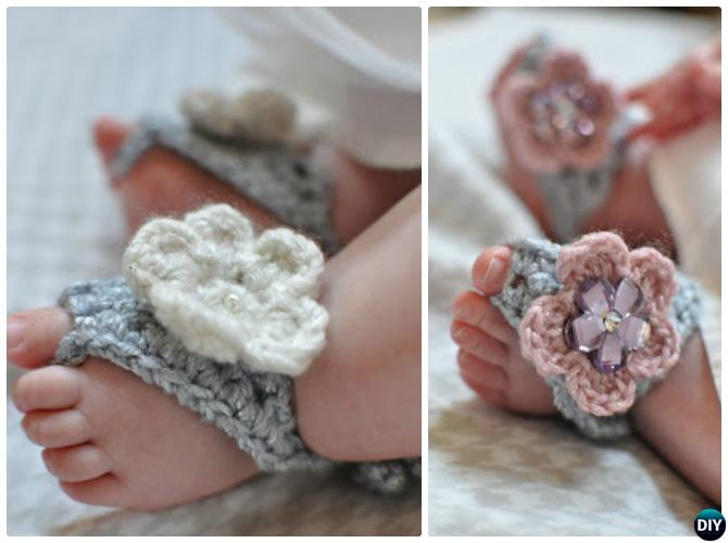 Crochet Barefoot Baby Sandals [Free Patterns]