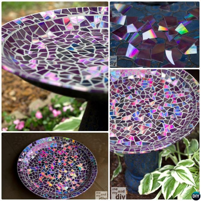 DIY CD Mosaic Clay Pot Bird Feeder Instructions