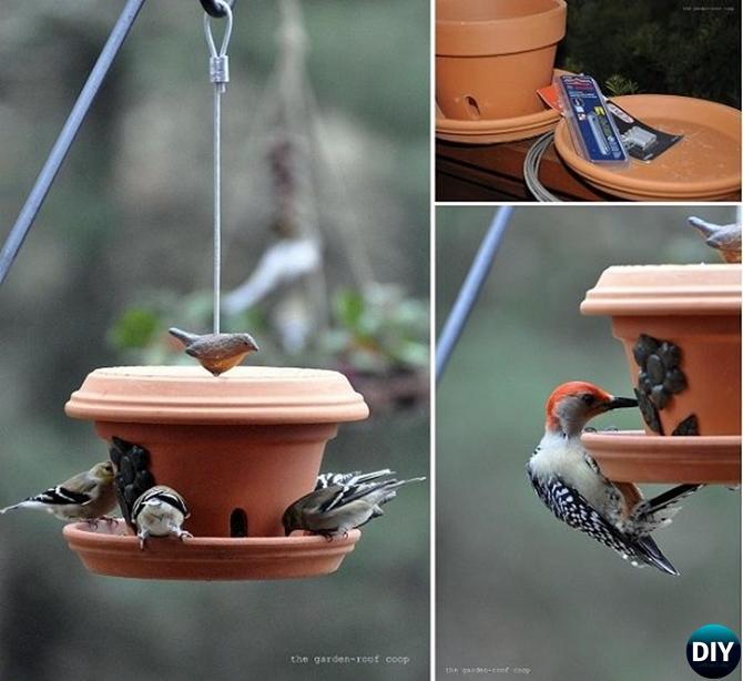 DIY Flower Clay Pot Birdfeeder - 20 DIY Bird Feeder Projects to Bring Life in Your Garden