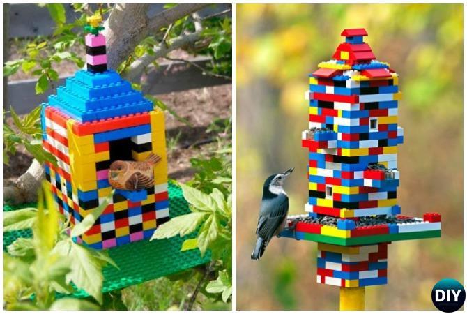 DIY Lego Birdfeeder - 20 DIY Bird Feeder Projects to Bring Life in Your Garden