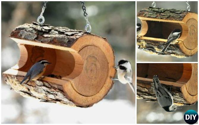 DIY Log Birdfeeder - 20 DIY Bird Feeder Projects to Bring Life in Your Garden