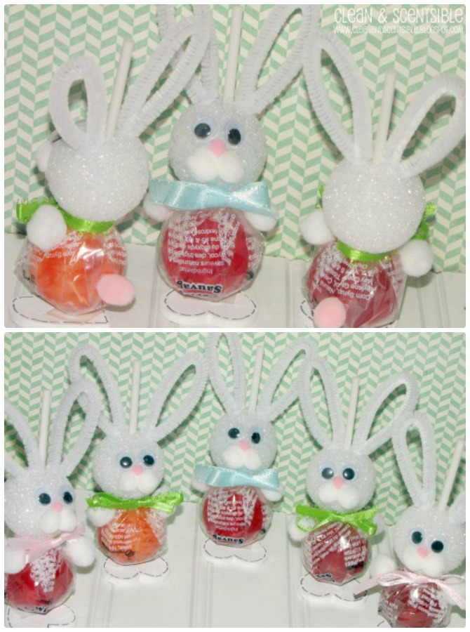 DIY Lollipop Easter Bunny Sucker-Easter Bunny Gift Ideas
