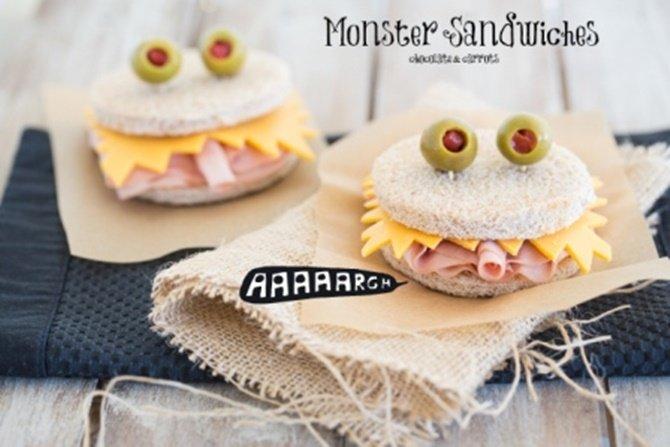 DIY Monster Sandwich-15 Fun Sandwich Ideas for Kids