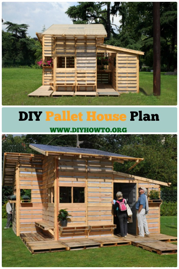 This #diy #pallet #house can be a shelter for emergency or backyard and gardening, what make it so brilliant is Upcycled Pallets construction in ONE day. #Outdoor, #Woodworking