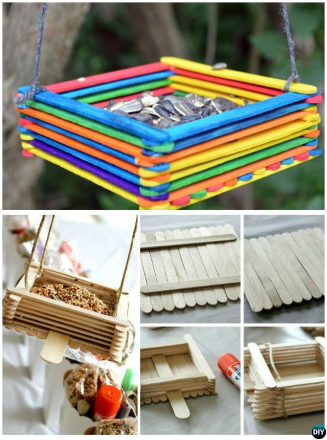 DIY Popsicle Stick Birdfeeder - 20 DIY Bird Feeder Projects to Bring Life in Your Garden