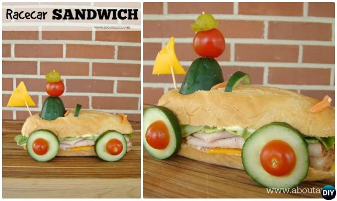 DIY Racecar Sandwich-15 Fun Sandwich Ideas for Kids