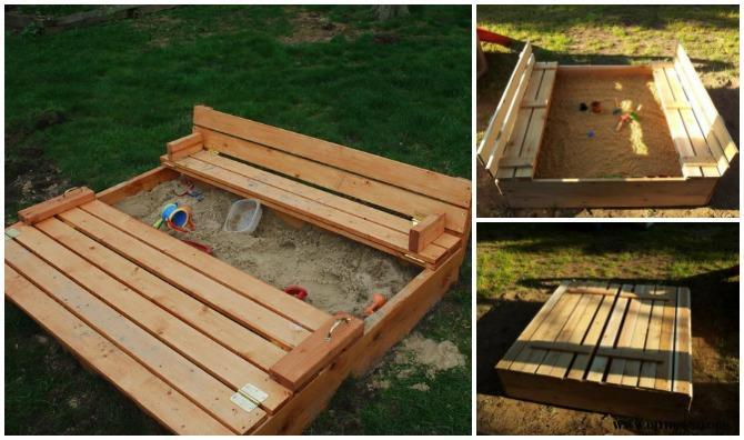 DIY Sandbox with Bench Cover (Video)