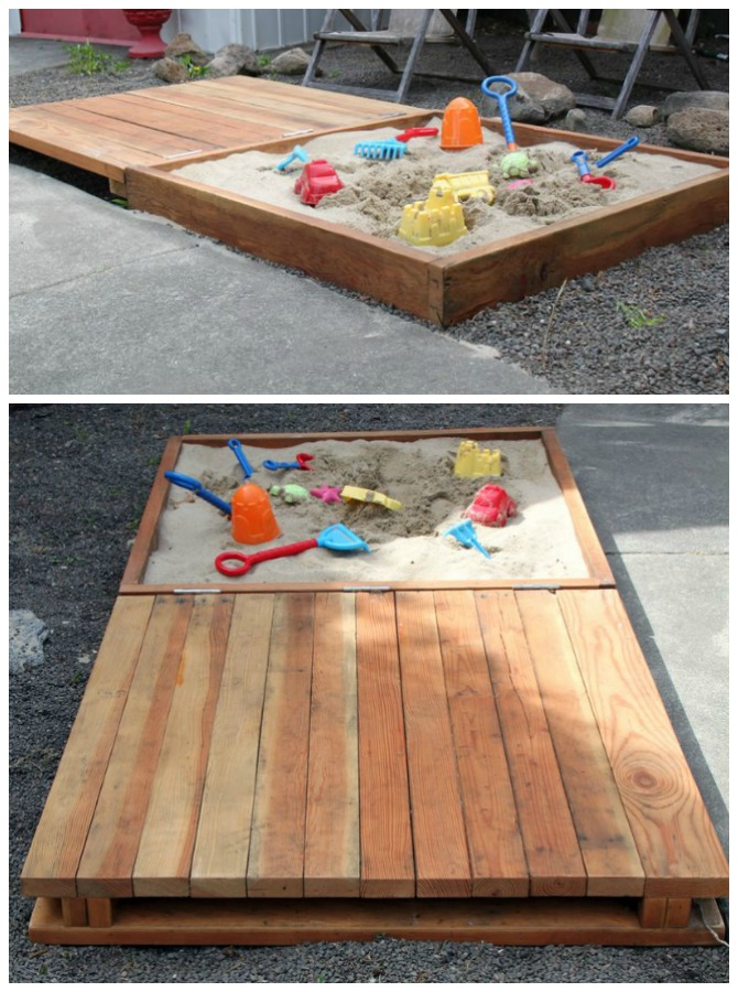 DIY Sandbox with Bench Cover-DIY Sandbox Projects