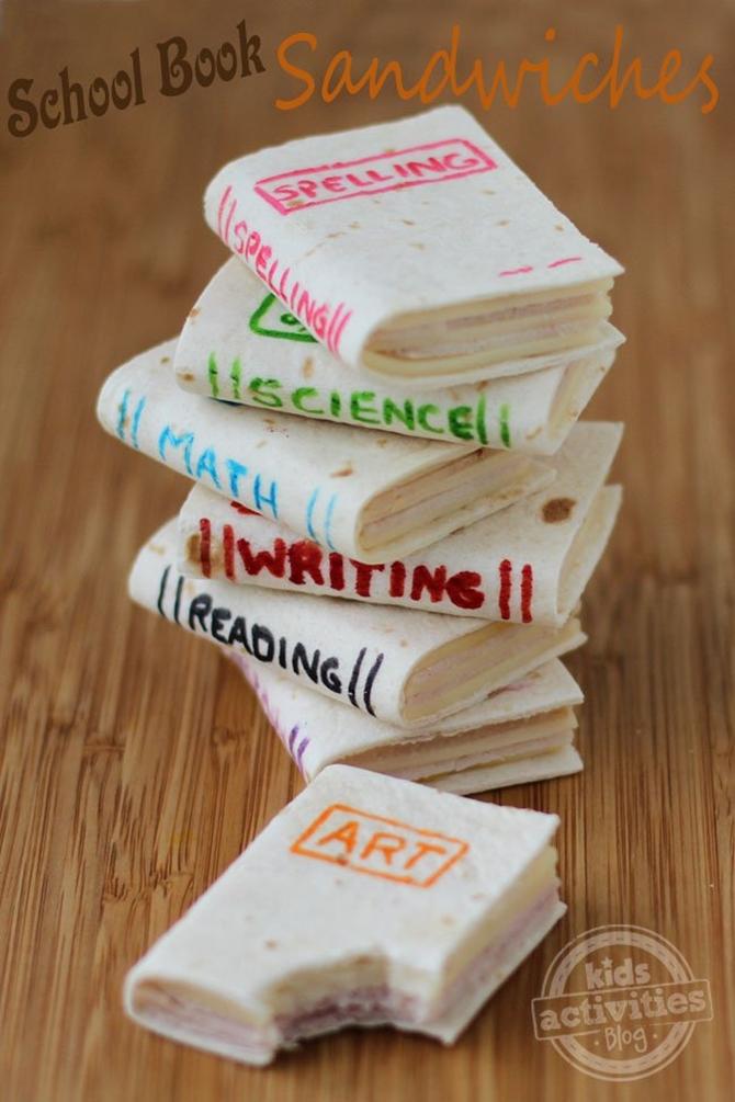 DIY School Book Sandwich-15 Fun Sandwich Ideas for Kids