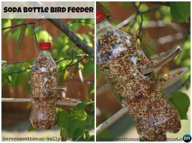 DIY Soda Bottle Birdfeeder - 20 DIY Bird Feeder Projects to Bring Life in Your Garden