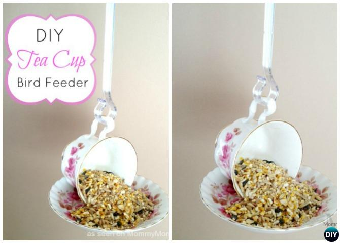DIY Teacup Birdfeeder - 20 DIY Bird Feeder Projects to Bring Life in Your Garden