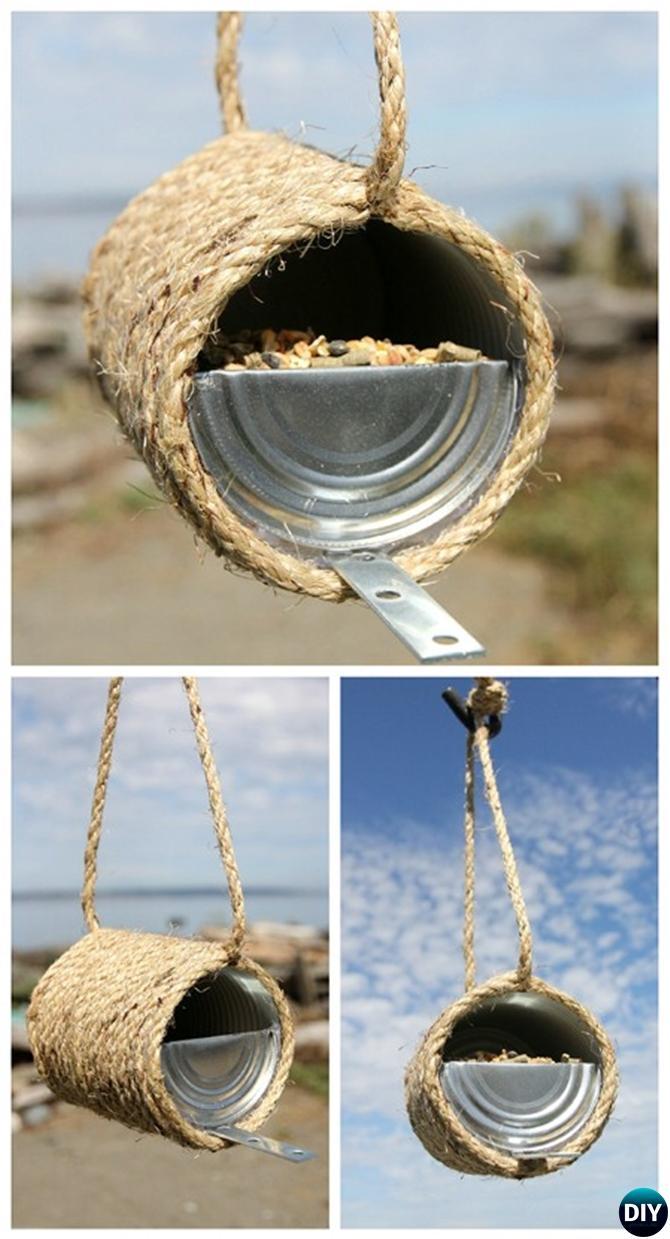 DIY Tin Can Birdfeeder - 20 DIY Bird Feeder Projects to Bring Life in Your Garden