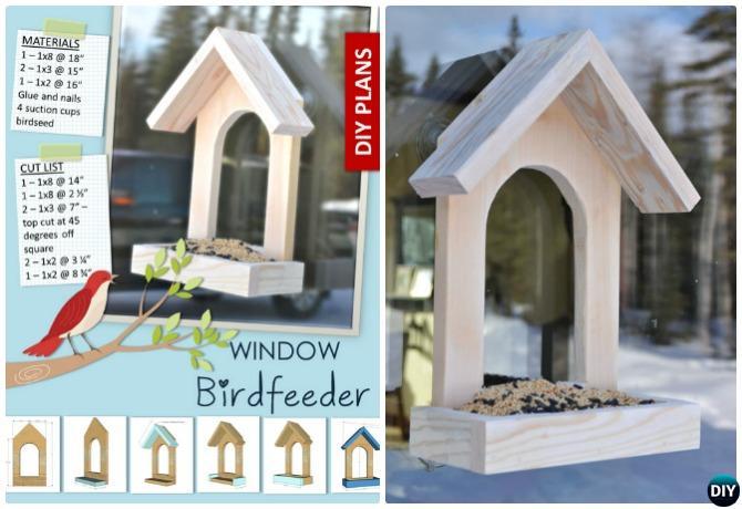 DIY Window Birdfeeder - 20 DIY Bird Feeder Projects to Bring Life in Your Garden