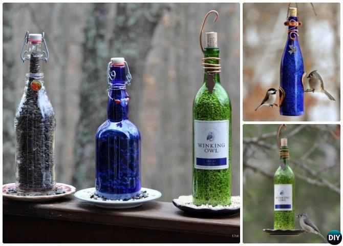 DIY Wine Bottle Birdfeeder - 20 DIY Bird Feeder Projects to Bring Life in Your Garden
