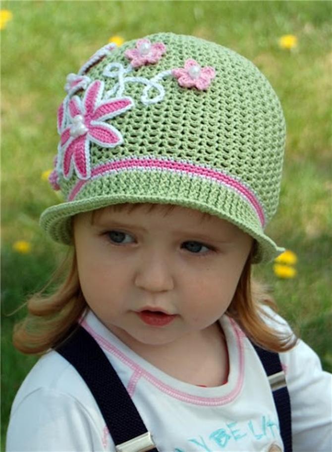 Вязание летних шапочек на девочек до 2 лет 147