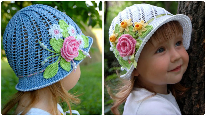 Crochet Panama Flower Hat Free Pattern