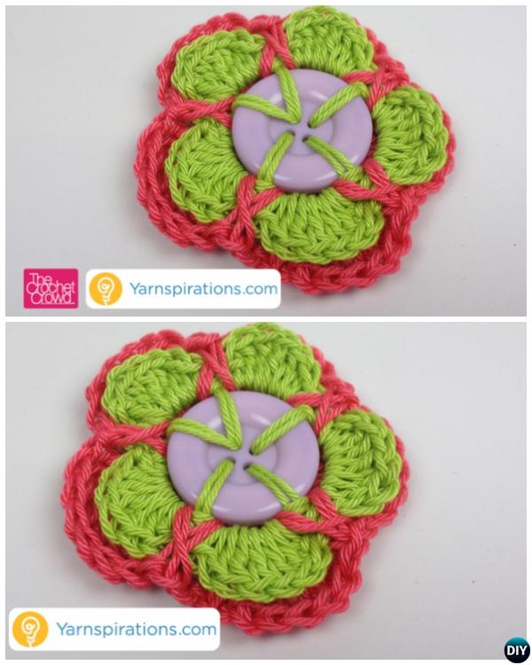 Layered Crochet Button Flower Free Patterns Beginner Guide-Video