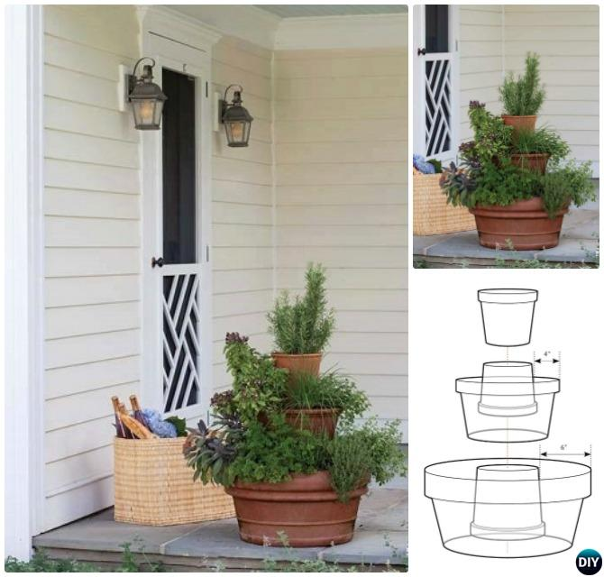 Stacked Terra-Cotta Clay Pot Herb Tower-DIY Flower Clay Pot Tower Projects for Garden