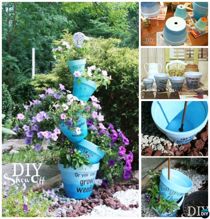 Stacked Vertical Ombre Flower Tower-DIY Flower Clay Pot Tower Projects for Garden
