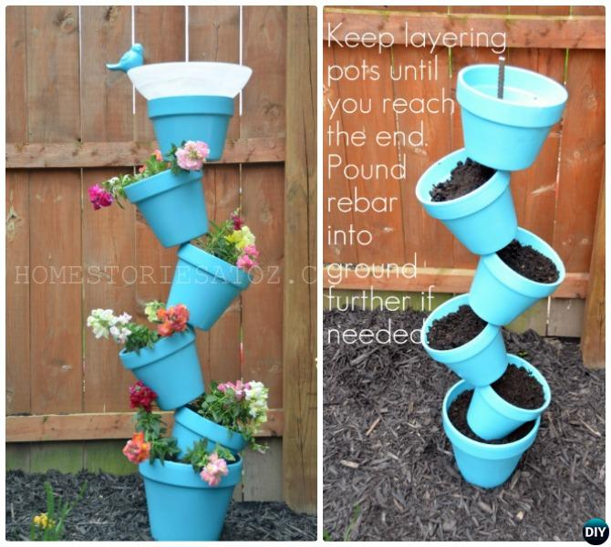 Vertical Flower Pot Tower Bird Feeder-DIY Flower Clay Pot Tower Projects for Garden
