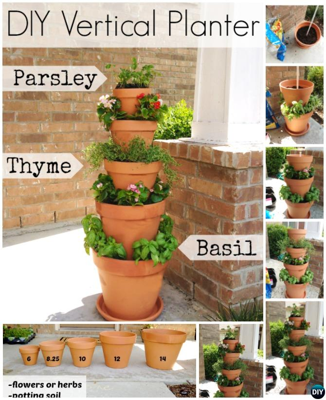 Vertical Terra Cotta Pot Flower Tower-DIY Flower Clay Pot Tower Projects for Garden
