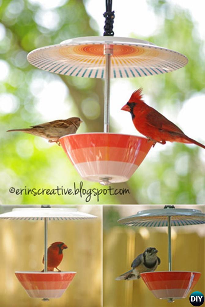 DIY Plate Bowl Birdfeeder - 20 DIY Bird Feeder Projects to Bring Life in Your Garden
