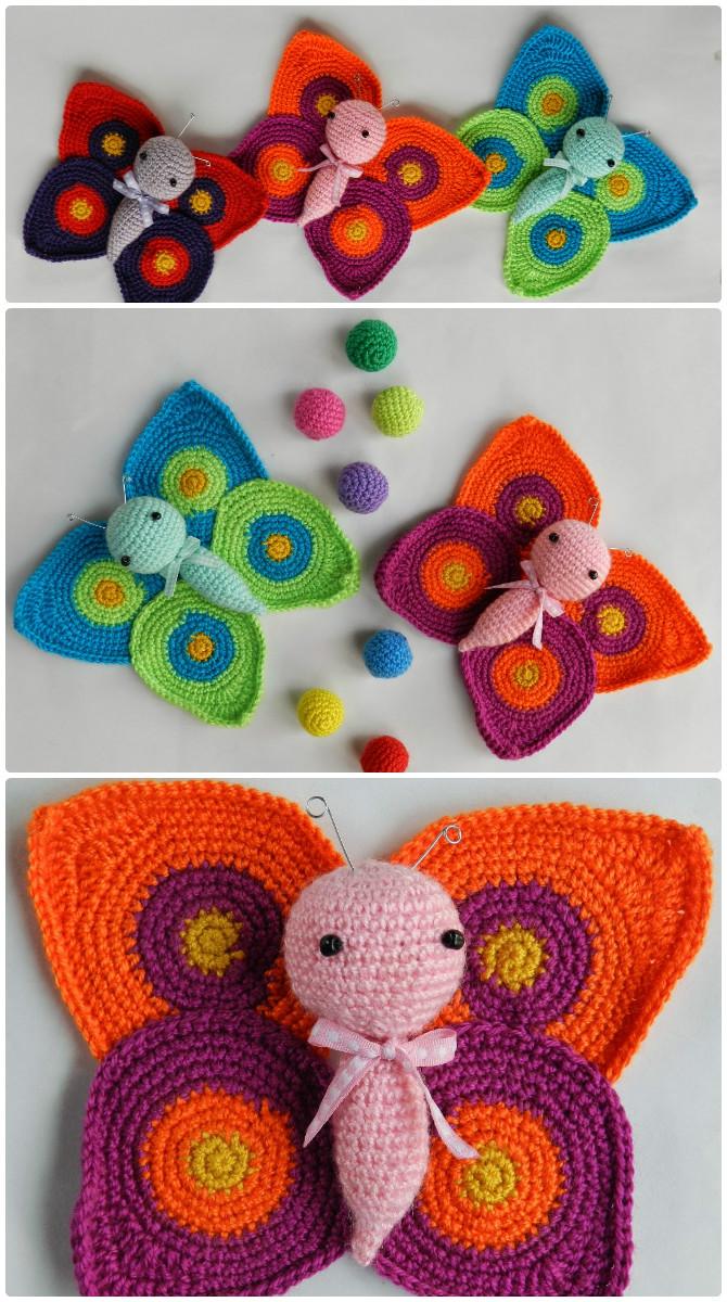 Amigurumi Crochet Butterfly Free Pattern  - Crochet #Butterfly; Free Patterns