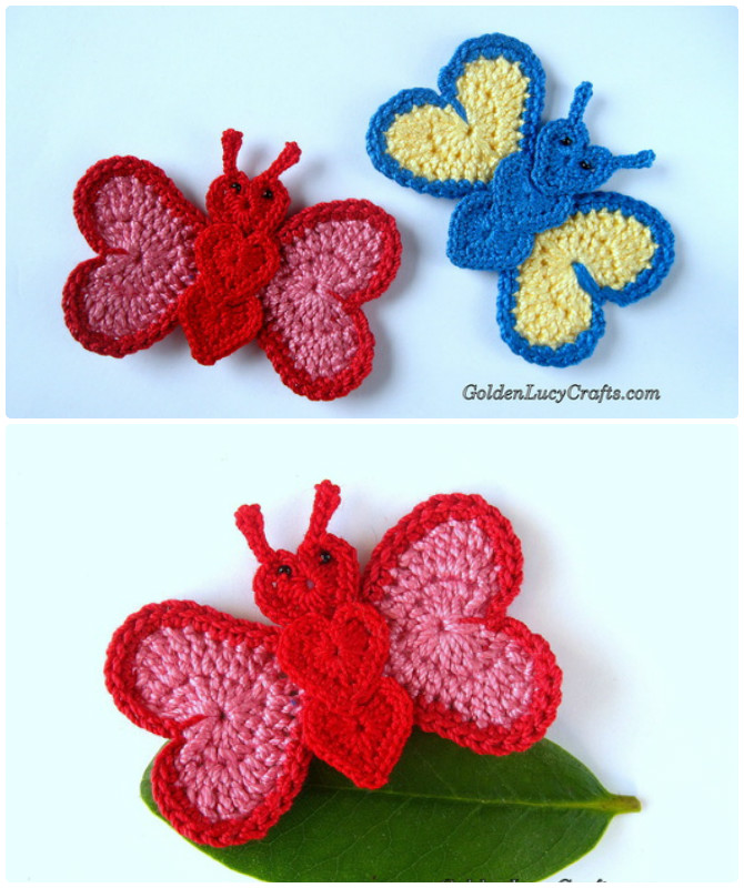 Crochet Heart Butterfly Applique Free Pattern