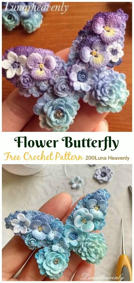 Crochet Flower Butterfly Free Pattern - Crochet #Butterfly; Free Patterns [Picture Instructions]