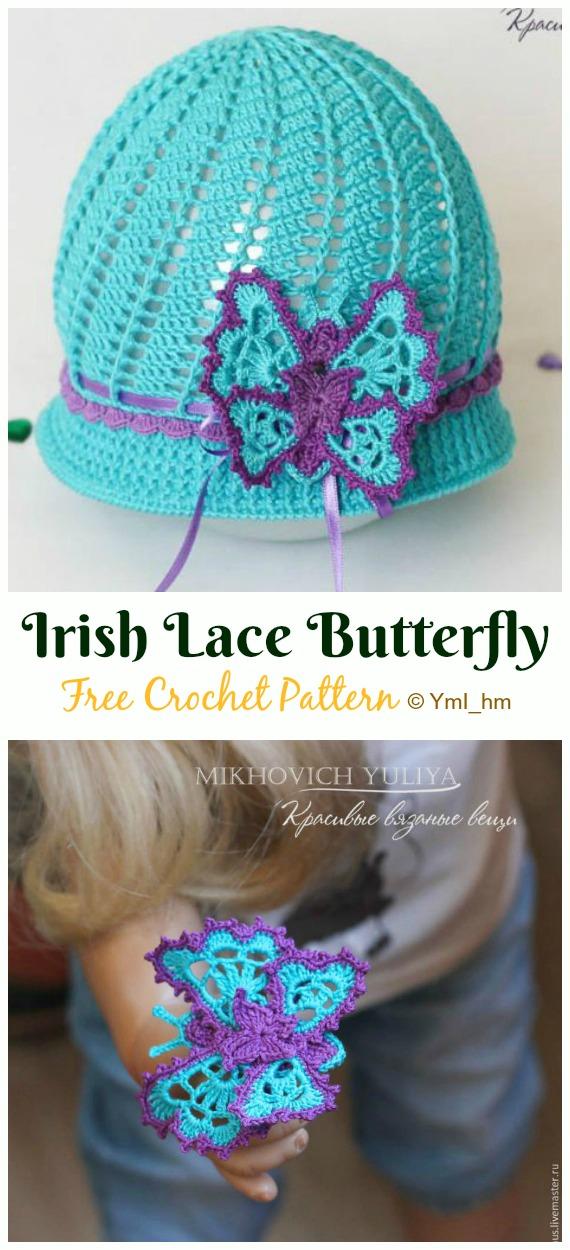 Crochet Irish Lace Butterfly Free Pattern - Crochet #Butterfly; Free Patterns [Picture Instructions]