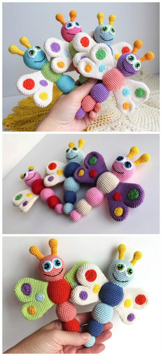 Crochet Baby Rattle Butterfly Amigurumi Free Pattern - Crochet #Butterfly; Free Patterns [Picture Instructions]