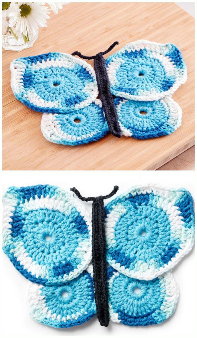 Crochet Butterfly Dishcloth Free Pattern - Crochet #Butterfly; Free Patterns [Picture Instructions]
