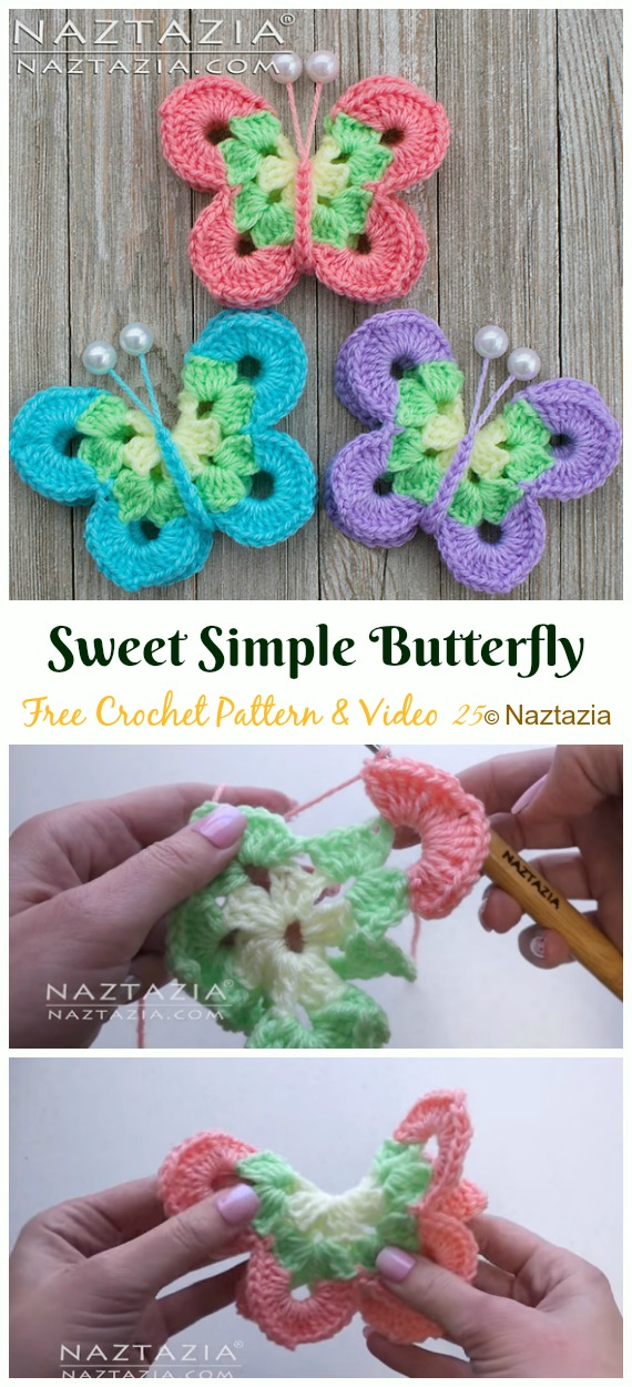 Crochet Sweet Simple Butterfly Free Pattern&Video - Crochet #Butterfly; Free Patterns [Picture Instructions]