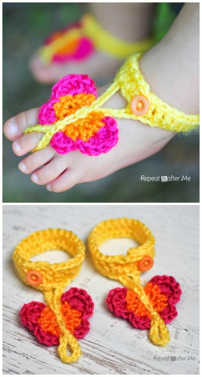 Crochet Butterfly Barefoot Baby Sandals Free Pattern