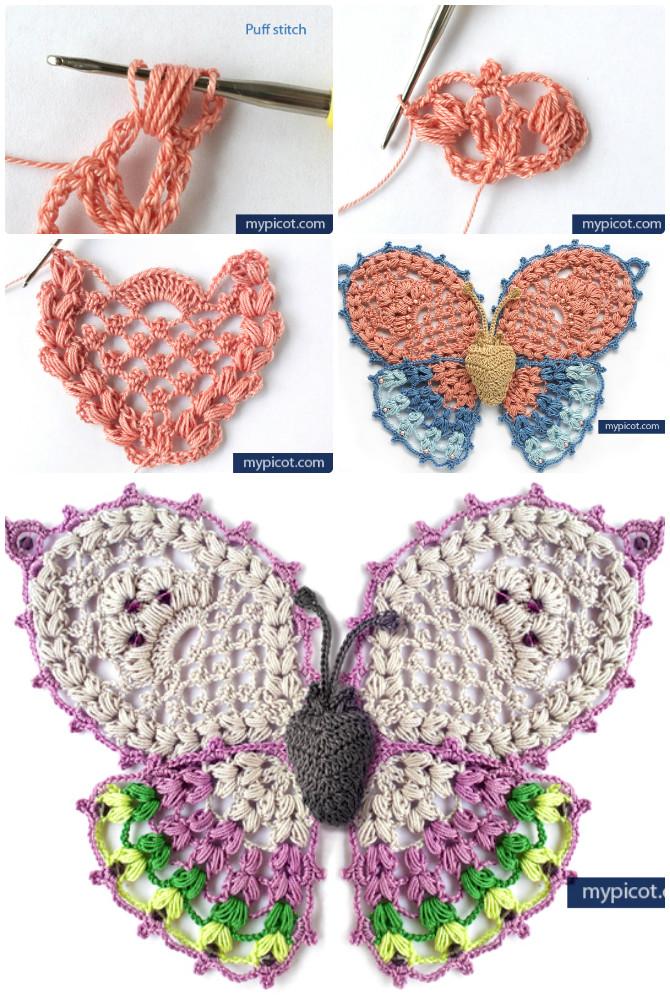 Picot Crochet Puff Stitch Butterfly Free Pattern - Crochet #Butterfly; Free Patterns