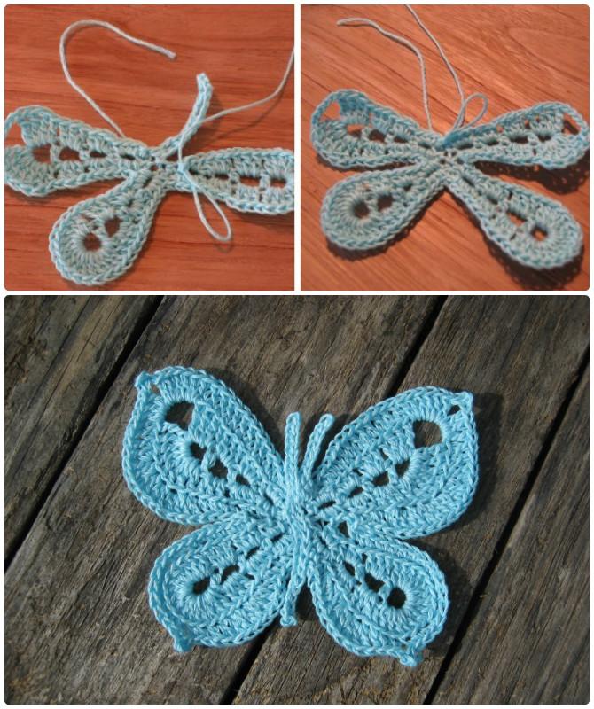 Picot Stitch Crochet Butterfly Free Pattern  - Crochet #Butterfly; Free Patterns