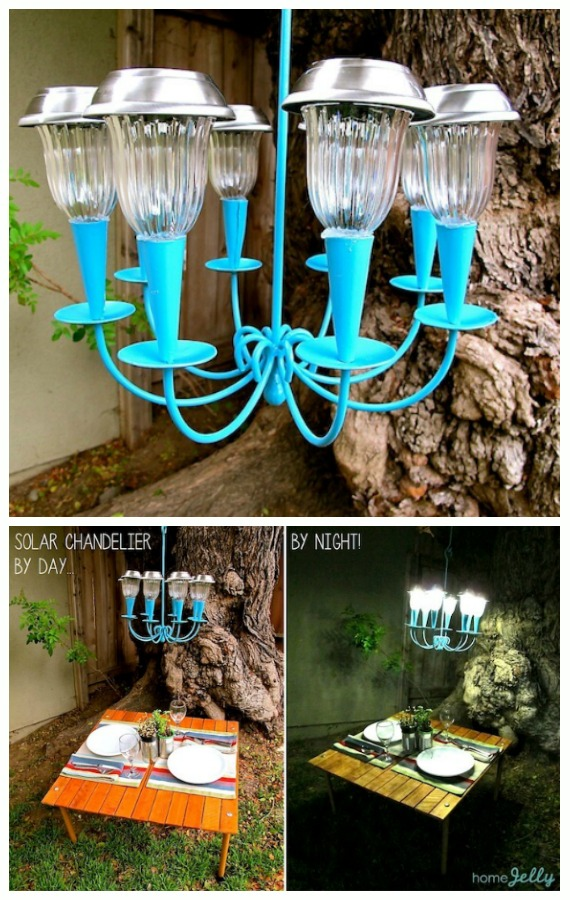 DIY Recycled Solar Light Hanging Chandelier Tutorial-DIY Solar Inspired Solar Light Lighting Ideas