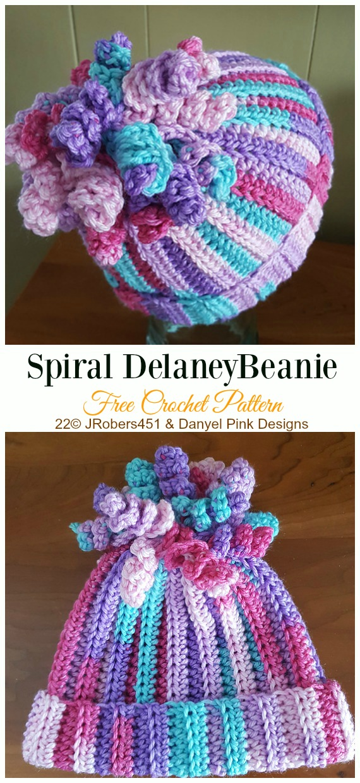 Spiral Delaney Beanie Crochet Free Patterns -  Crochet   Beanie  Hat Free  Patterns 1e44d2c3313