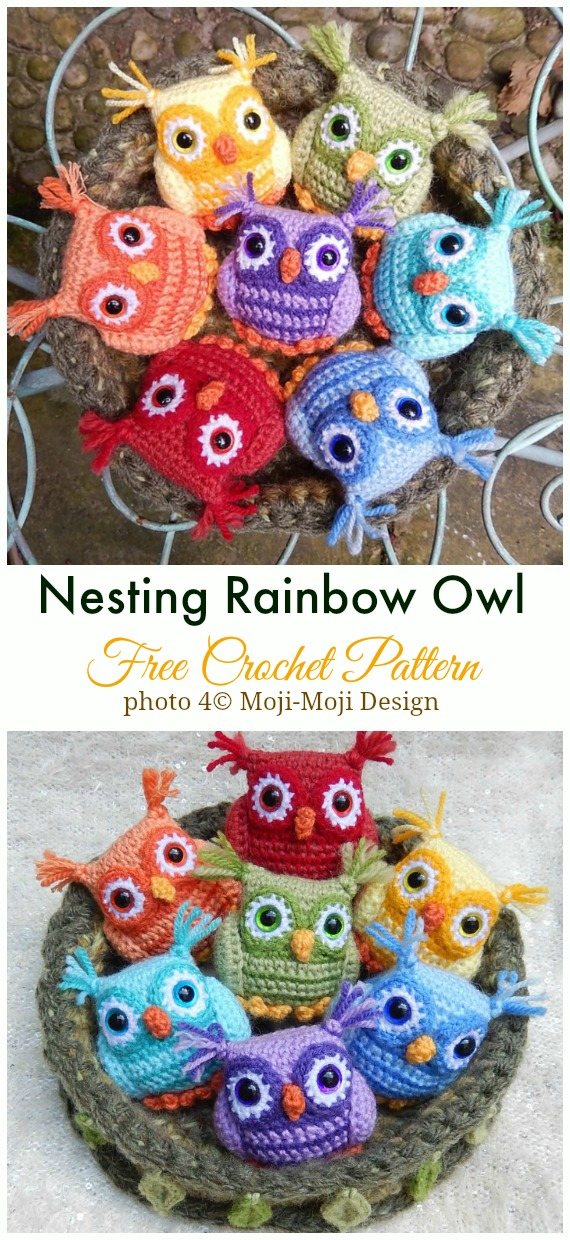 Crochet Nesting Rainbow Owl Amigurumi Free Pattern - #Amigurumi; Crochet #Owl; Toy Softies Free Patterns