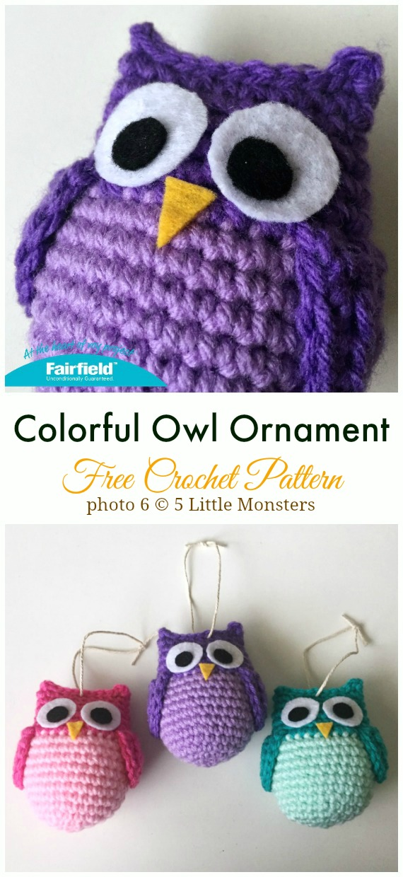 Crochet Colorful Owl Ornament Amigurumi Free Pattern - #Amigurumi; Crochet #Owl; Toy Softies Free Patterns