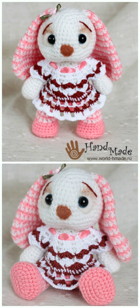 Amigurumi Flappy Rabbit Doll in dress Crochet Free Pattern - #Crochet; Amigurumi #Bunny; Toy Softies Free Patterns