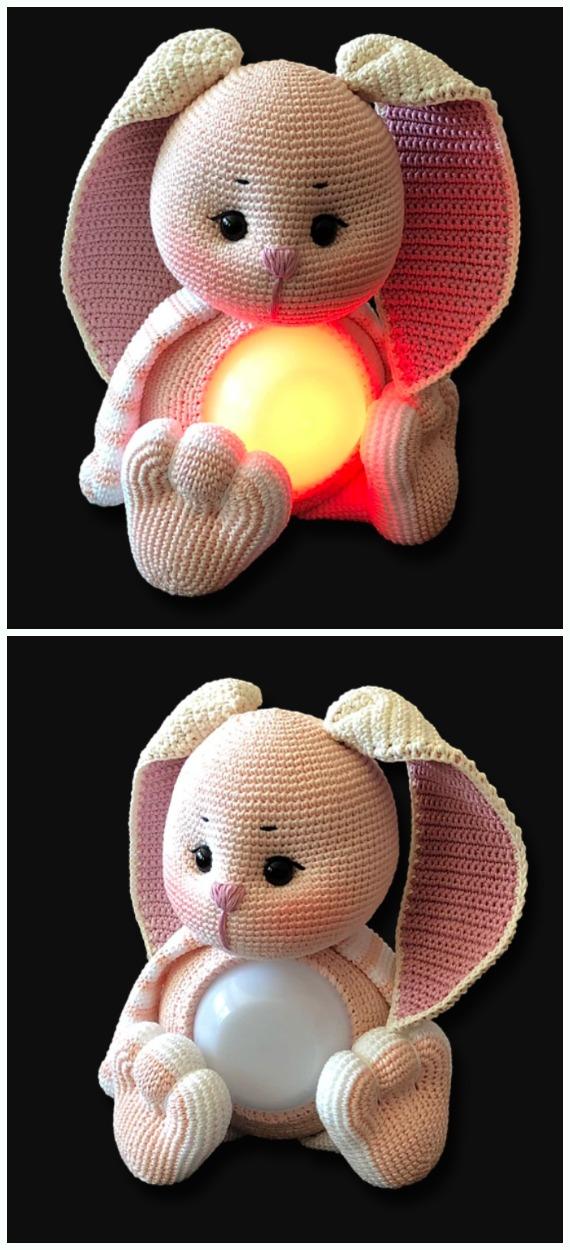 Amigurumi Glow Bunny  Lamp Crochet Free Pattern - #Crochet; Amigurumi #Bunny; Toy Softies Free Patterns